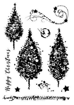 Woodware Clear Magic Sparkly Trees Stamp Set